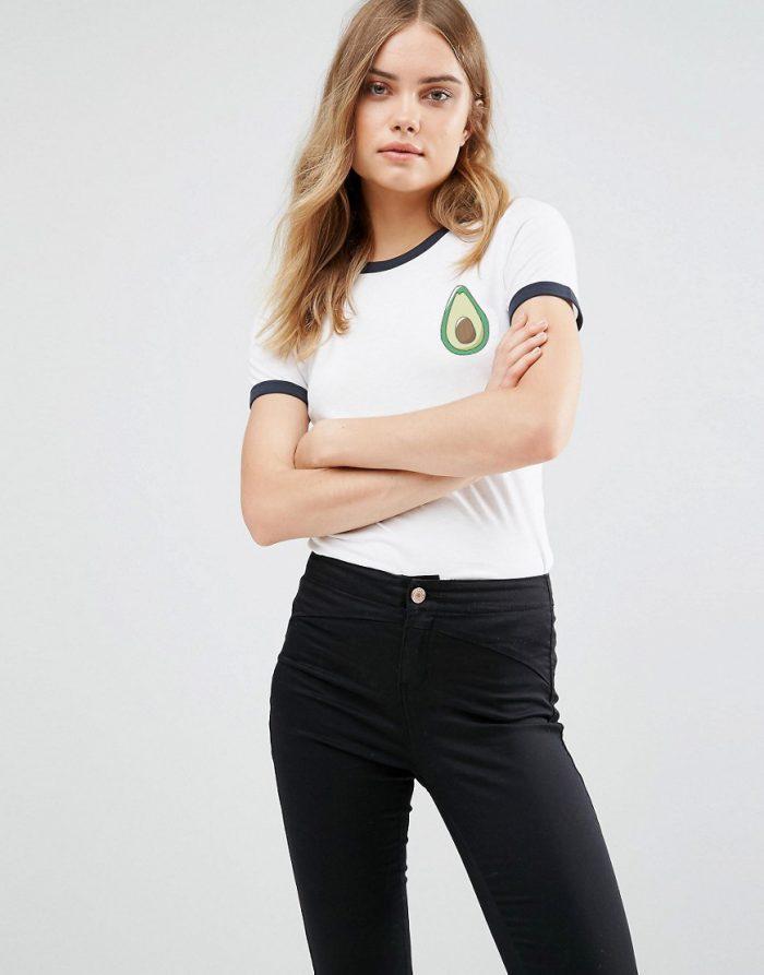 SexeMara-Summer-Lovely-Women-T-Shirt-Short-Sleeve-Black-Patchwork-T-Shirt-Avocado-Print-Blusa-Female-2