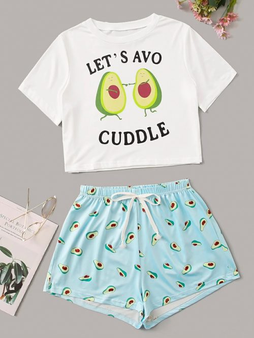 Avocuddle Shorts Pajama Set 1