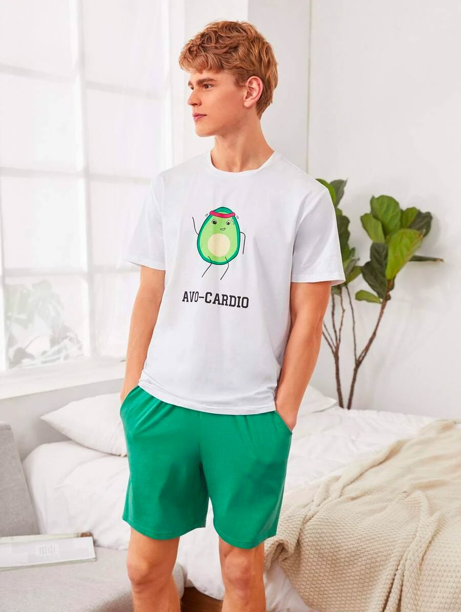 Mens Avocado Top Shorts Set 1