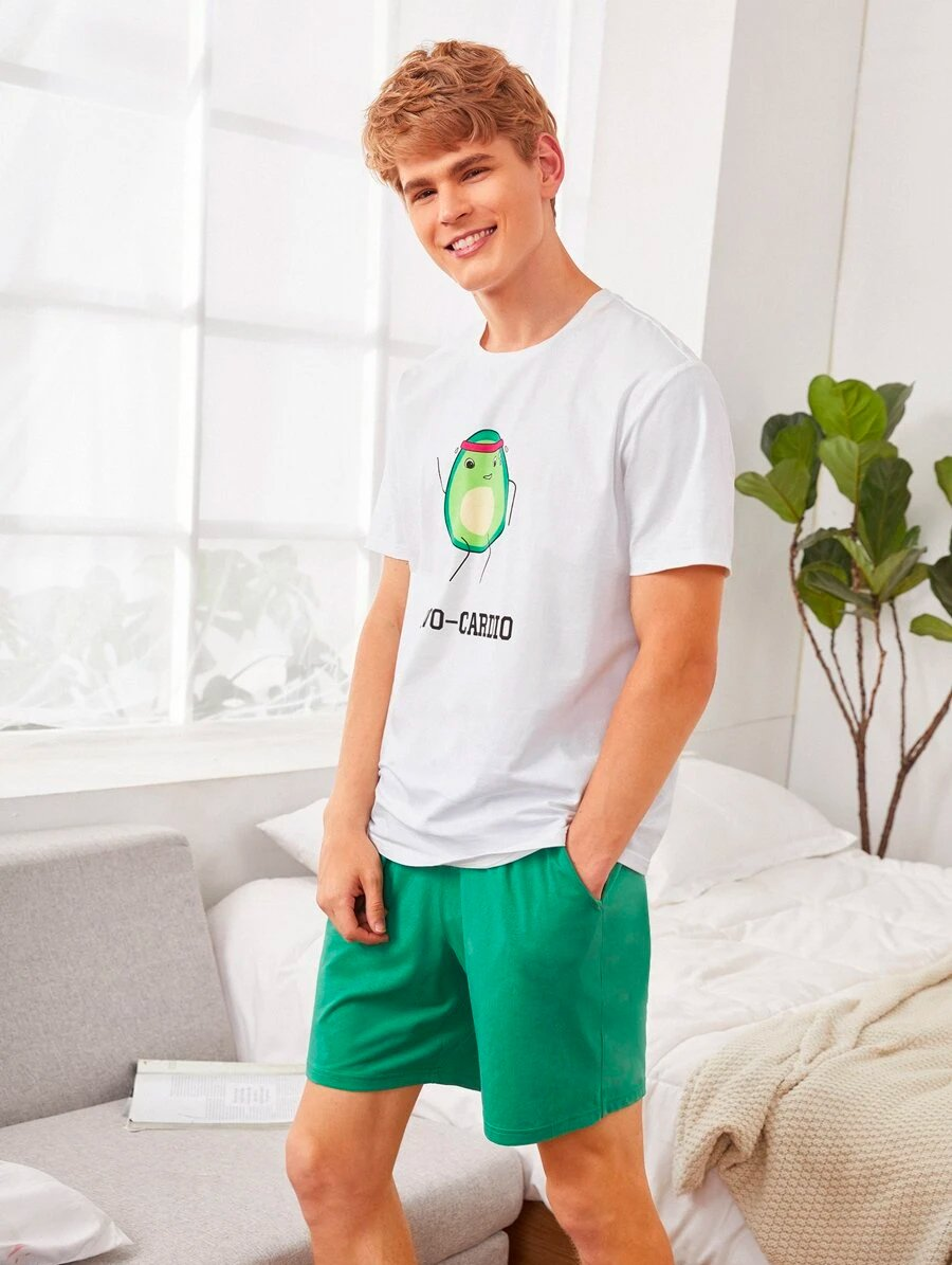 Mens Avocado Top Shorts Set 3