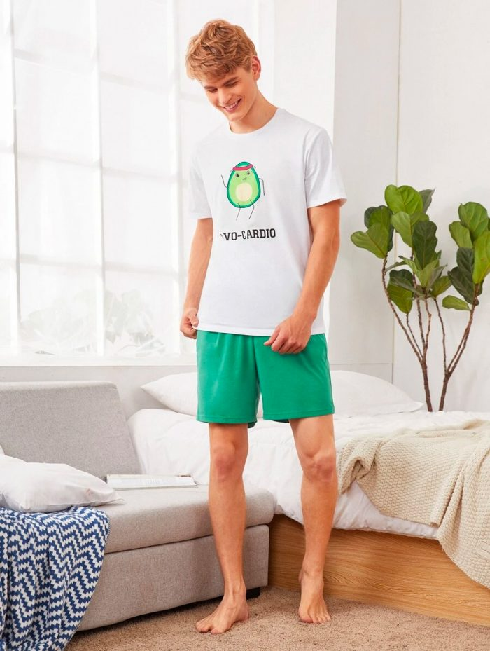 Mens Avocado Top Shorts Set 5