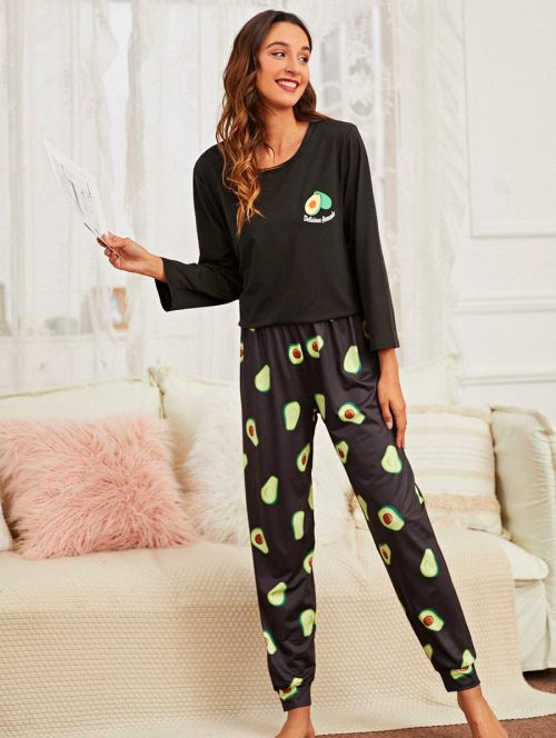 Avocado Black Pajama 1