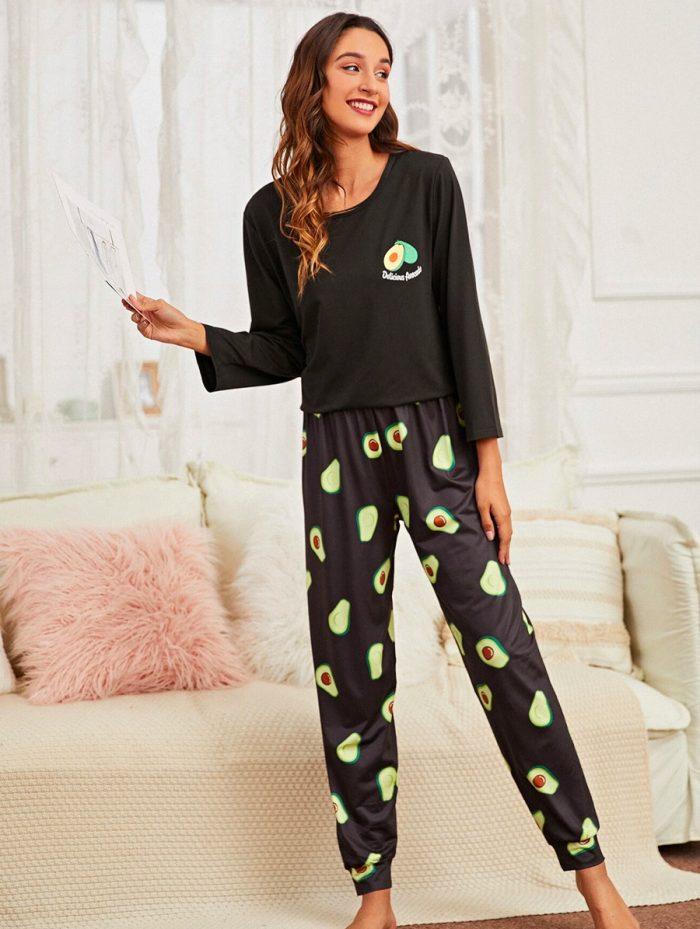 Avocado Black Pajama 1